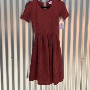 NWT Lularoe Amelia Rust Day Dress XS